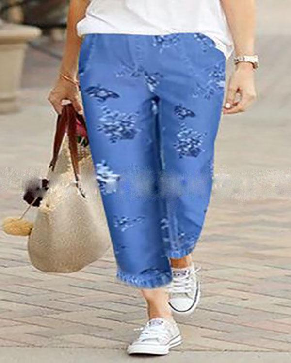 Women Blue Pockets Shift Pants