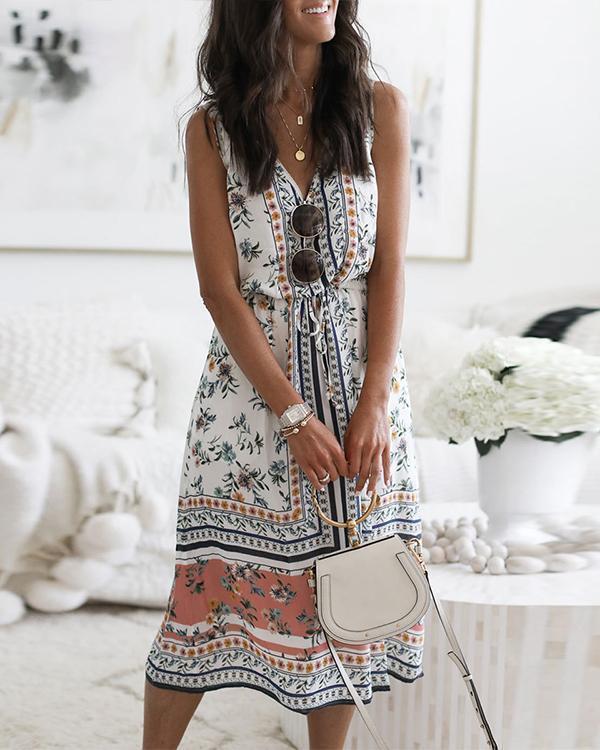 Floral Print V-neck Sleeveless Self-tie Midi Dress