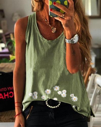 Paneled Sleeveless Daisy Print Casual T-shirt