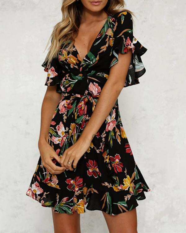Flounce Belt Floral Printed Bell Sleeve Skater Dress