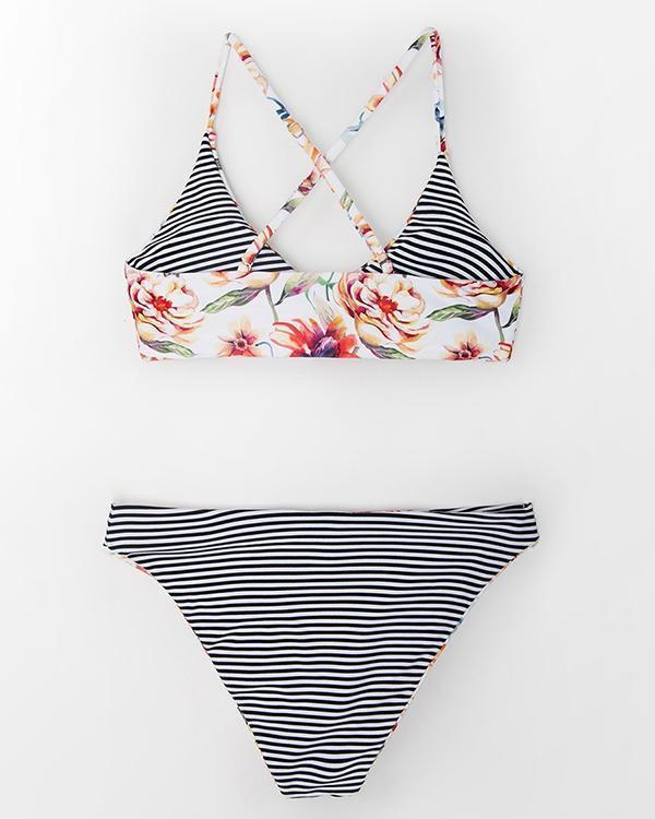 Floral And Striped Reversible Bikinis Set