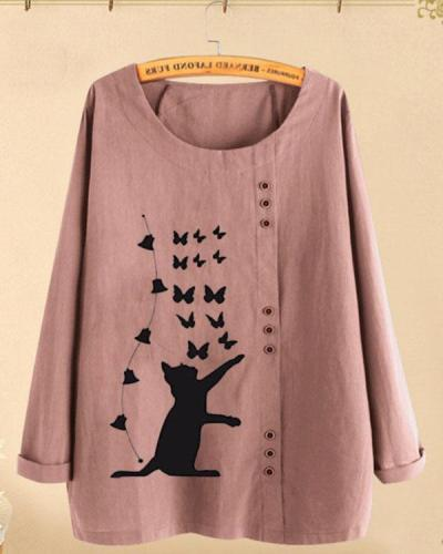 Fall Fashion Cat Butterfly Print Button Large Sizes Long-sleeved Shirts