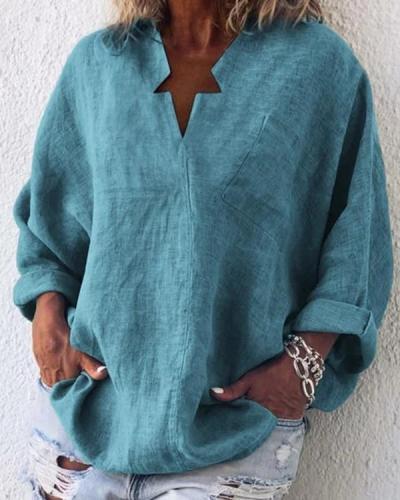 Casual Long Sleeve Cotton-Blend Plain Blouses