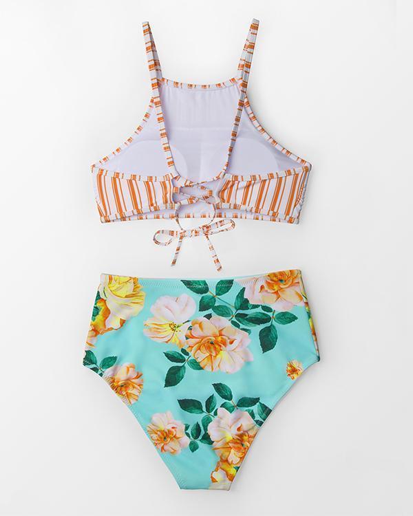 Striped Printed High Waist Split Bikini