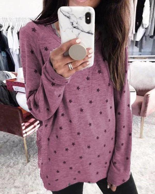 Gray Long Sleeve Polka Dots Cotton Shirts & Tops