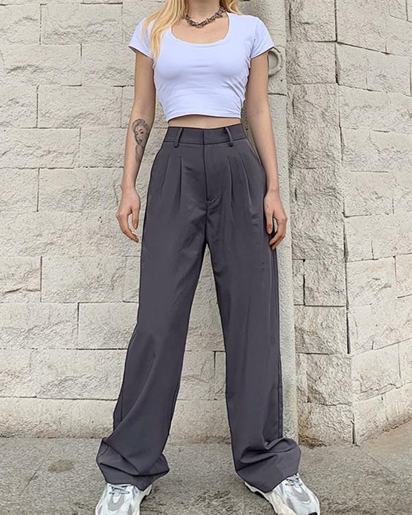 Casual Senior Gray Sexy Slim Straight Trousers Pants