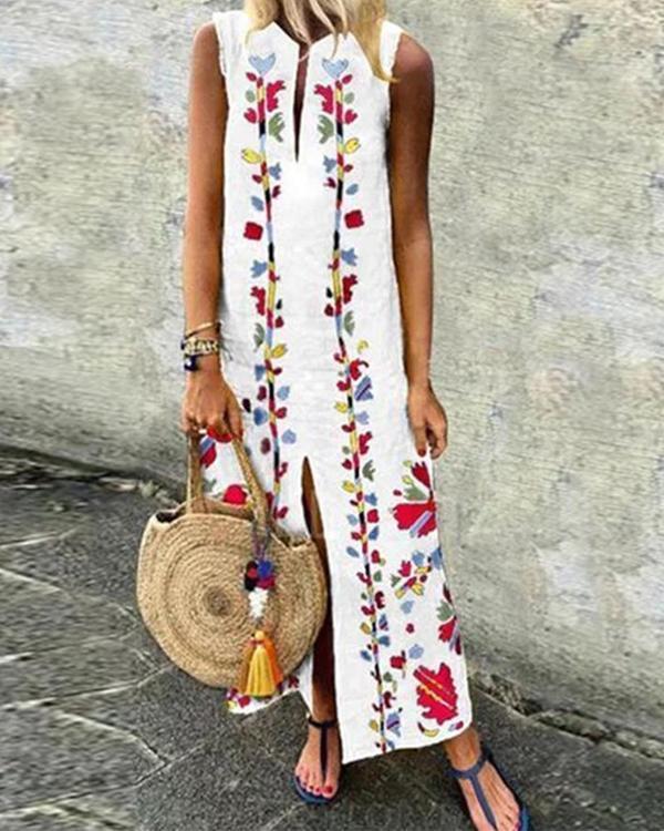 Printed Round Neck Sleeveless Plus Size Maxi Dresses
