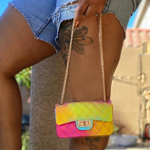 Women Rainbow Color Shoulder Bag Handbag