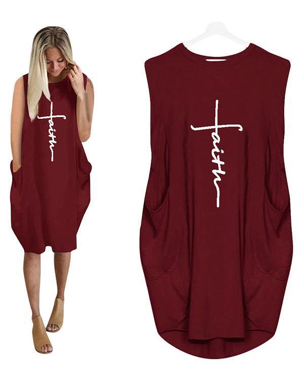 Printing Long Sleeved Irregular Women's Plus Size Sleeveless Dress