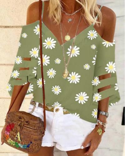Floral Sexy Camisole Neckline 3/4 Sleeves Blouses