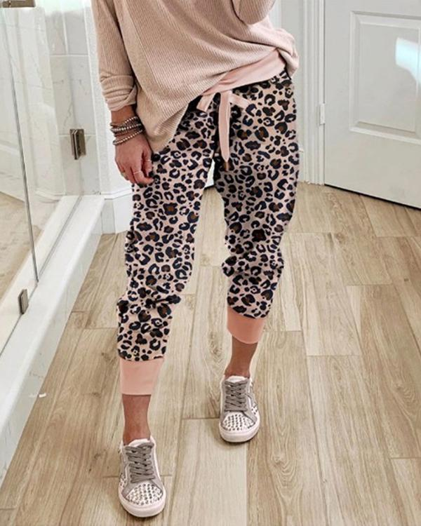 Casual Camo Pattern Leopard Drawstring Jogger Pants