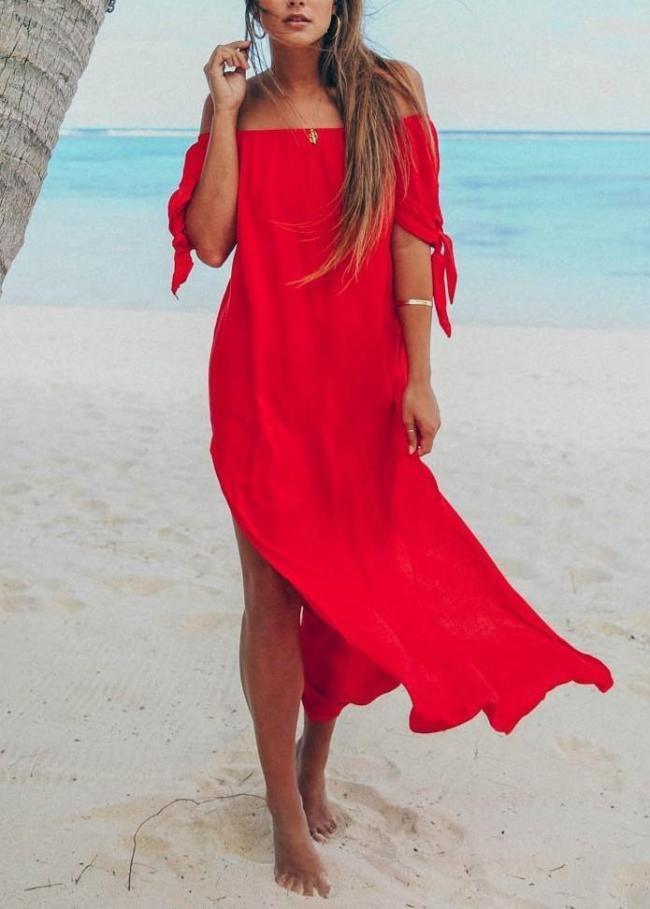 Oversized Women Side Split Long Maxi Dress Off The Shoulder Loose Dress