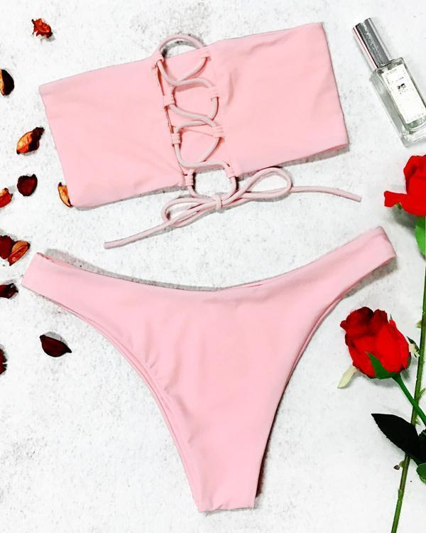 Cute Women Pure Color / Flower Printed Lace-Up Bikini Swimsuits