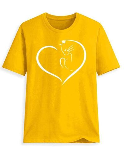 Round Neck Cat Print Sleeve T-shirt