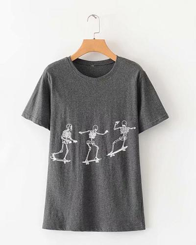 Round Neck Short Sleeve Casual Tee