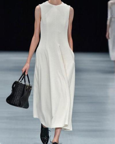 Plus Size Fashion Solid Sleeveless  Maxi Dresses