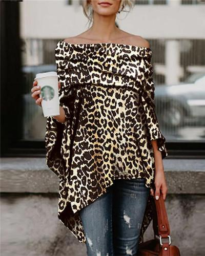 Off Shoulder Leopard Longs Holiday Fall Daily Casual Blouse