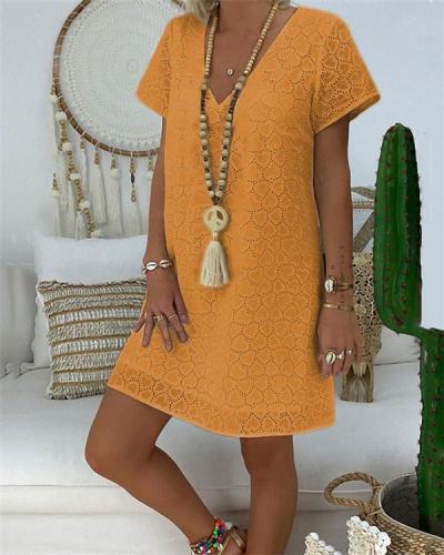 Plus Size Lace V Neck Solid Mini Dress