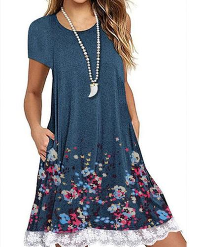 Crew Neck Women Dresses Shift Daily Casual Floral Dresses