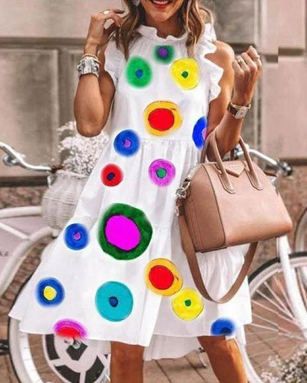 Polka Dot Print Elegant Midi Dress