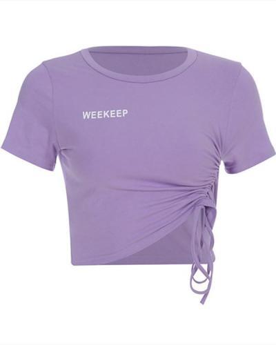 Women's Letter Print Short Sleeve Short T-Shirt