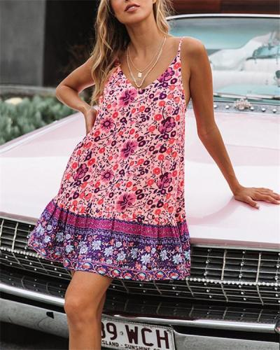 Bohemian Fashion Printed Sleeveless Mini Dress