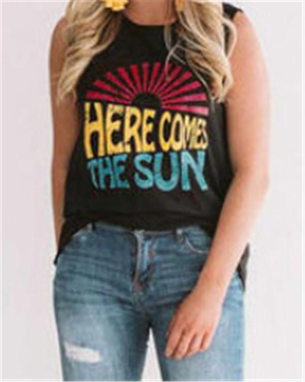 Fashion Sleeveless  Round Neck Casual Summer Women Holiday Blouse