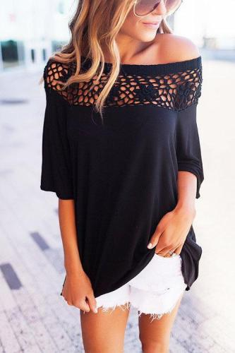One Shoulder Hollow-out Tops