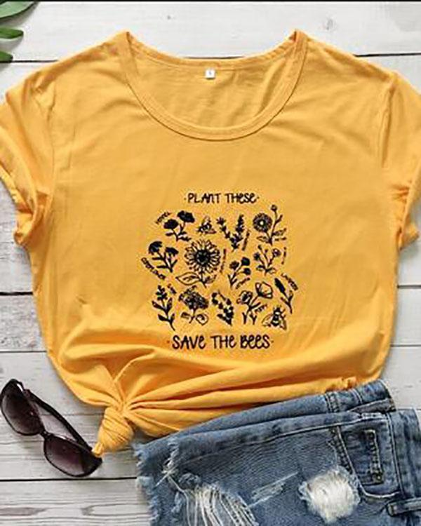 Hot Street Style Printed Casual Round Neck Daily Shift Tops