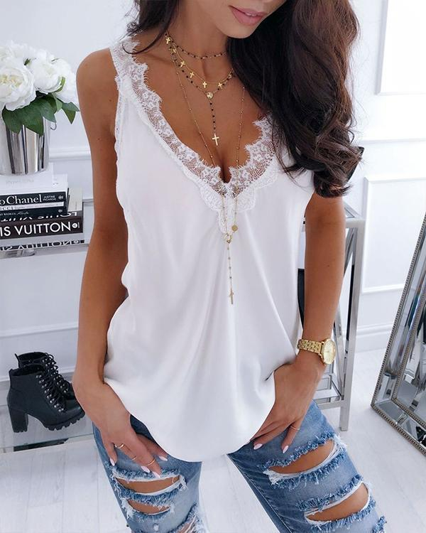 Double V Eyelash-Lace Splicing Vest