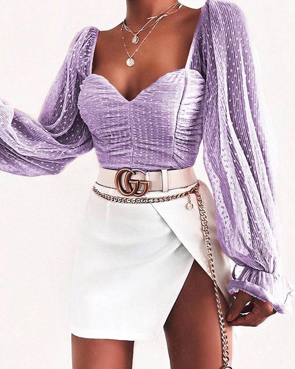 Barbara Long Sleeve Ruched Crop Top Blouses