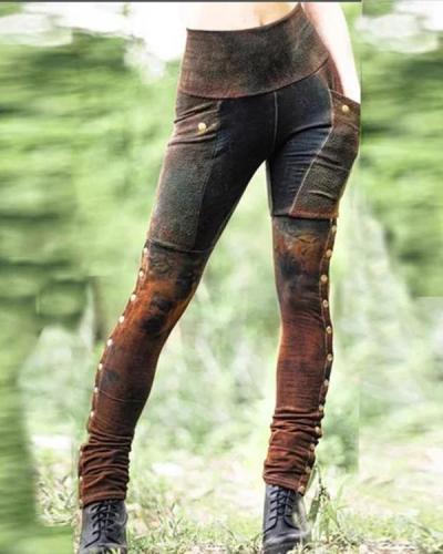 Five colors Casual Cotton-Blend Pants