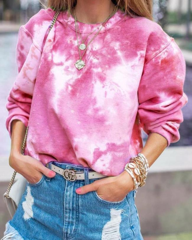 Fashion Round Neck Loose Long Sleeve Fall Casual Shirts & Tops