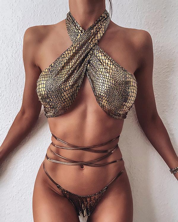 Crocodile Metallic Criss Cross Halter Bikini Swimsuit
