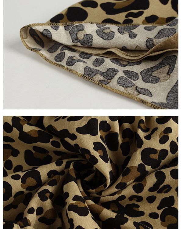 Leopard Print Off-Shoulder Flounce Sleeve A-line Dress