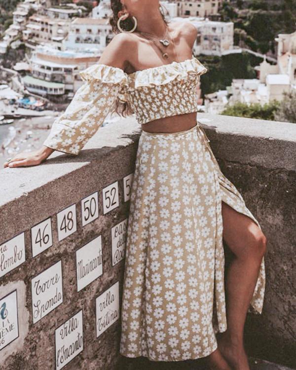 Fashion Floral Off-The-Shoulder A-Line Suit