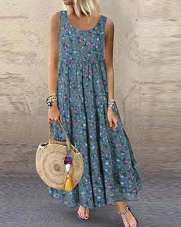 Bohemian Floral Print Sleeveless Plus Size Maxi Dress