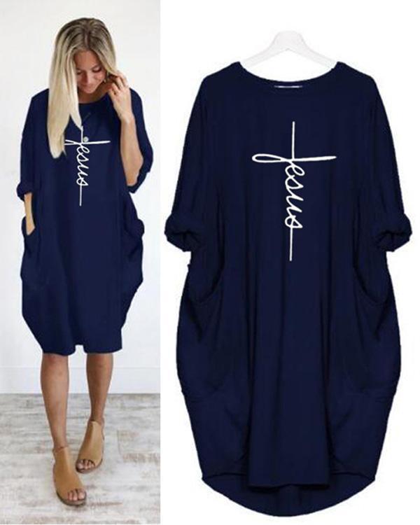 Printing Long Sleeved Irregular Women's Plus Size Dress
