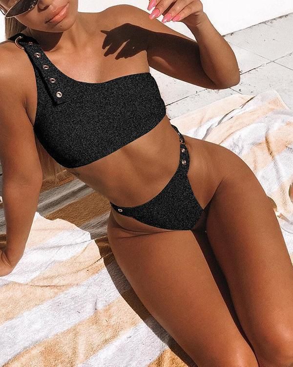 One Shoulder Buckle Bikini Set