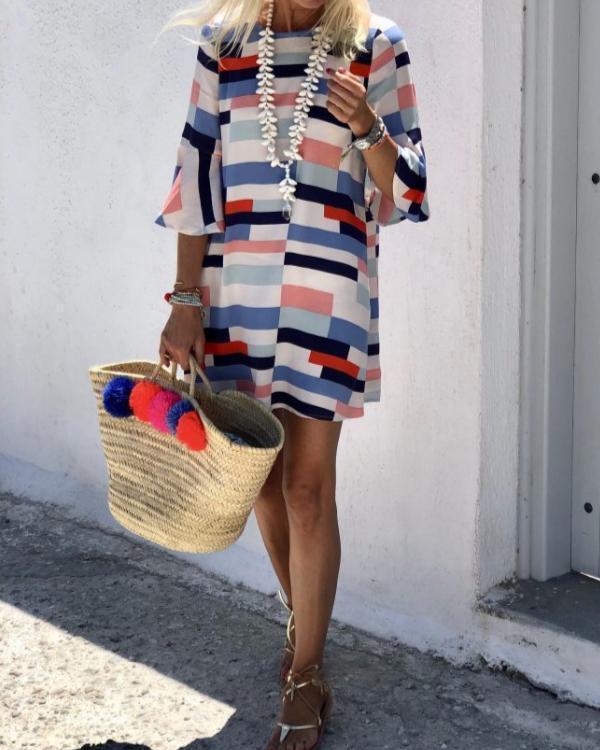 Elegant Round Neck Short Sleeve Stitching Casual Mini Dress