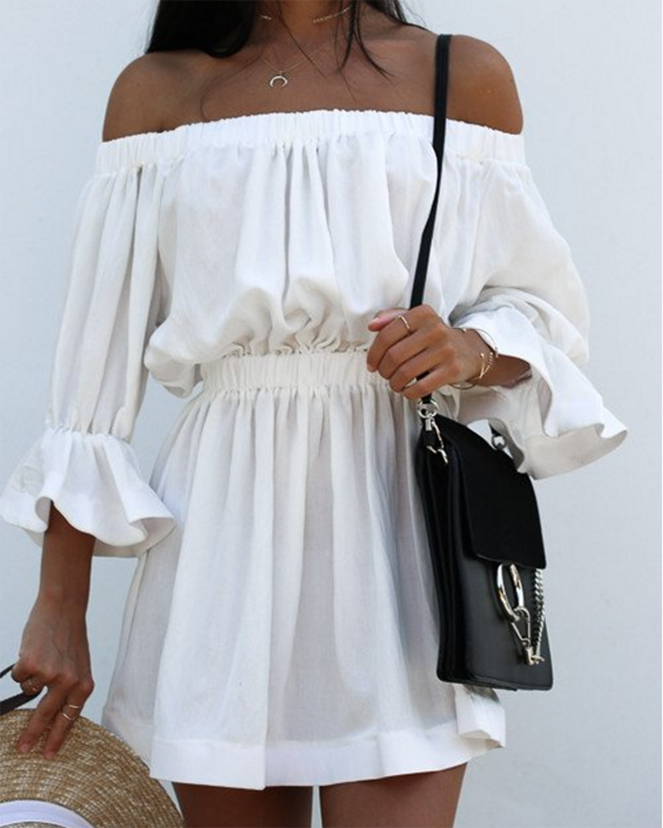 One-word Neck Drape Dress