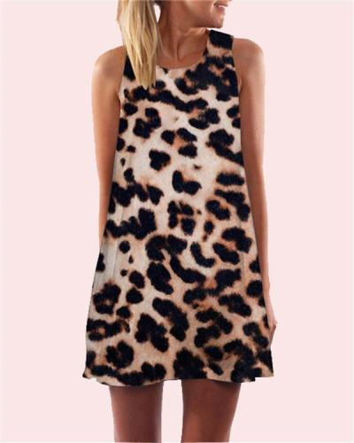 Leopard Printed Sleeveless Beach Dress