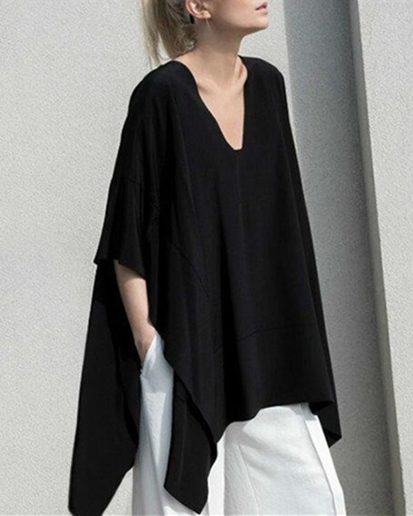Black Asymmetrical Casual V-Neck Cotton Batwing Blouse Plus Size Tops