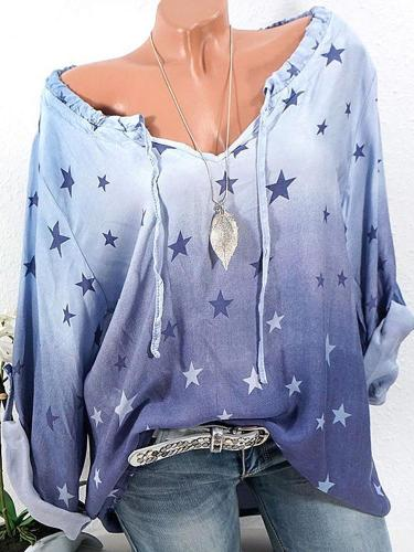 Casual Stars Print Gradient Drawstring Long Sleeve Women's Blouses