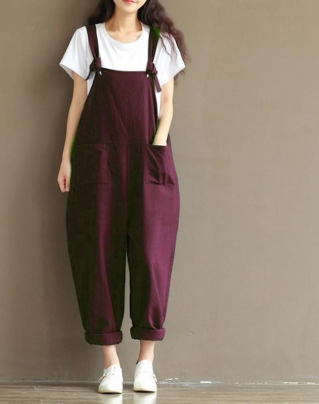 Plus Size Casual Strap Pockets Jumpsuit Romper Trousers Overalls For Women