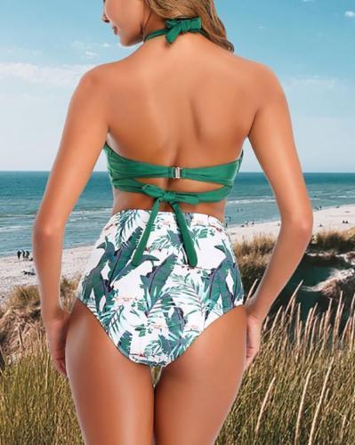 Flower Print Twist Front Bikini Set