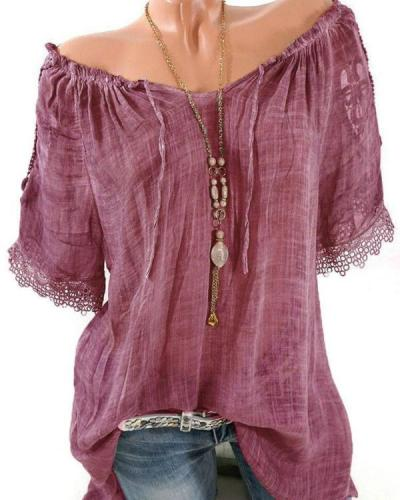 Lace Crochet Short Sleeve Pure Color Women's Shirts