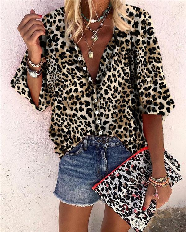 Leopard Fashionable Women Holiday Fall Daily Casual Blouse