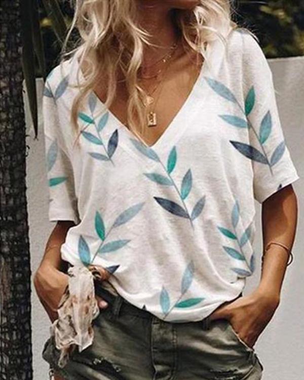 Plus Size Casual Print V-neck Cotton-blend Short Sleeve T-Shirt