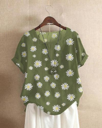 Daisy Print Short Sleeve Shift Shirts & Tops